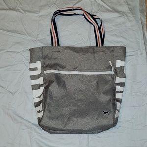 Marl gray zip top vs pink tote